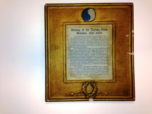 This is the story of how the 116th Infantry Regiment (formed from the 2d, 4th, 1-70th Virginia Regiments) became part of the 29th Infantry Division on Federal Active Duty in 1917 at the start of World War 1. The plaster frame painted gold is original.