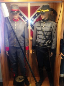 The Stonewall Brigade also included Artillery and Calvary organizations.  These are authentic reproductions of the uniforms worn.  The Red uniform piping was for Artillery and Black for Calvary Officers.