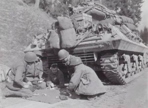 Member 29th Div. taking a card playing break